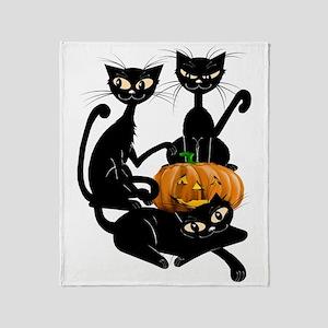 Three Black Kitties and a PumpkinTra Throw Blanket