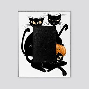 Three Black Kitties and a PumpkinTra Picture Frame