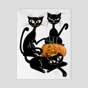 Three Black Kitties and a PumpkinTrans Twin Duvet
