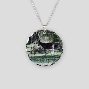Okapi Necklace Circle Charm