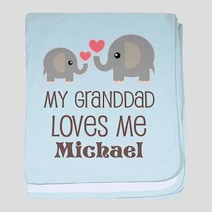 Granddad Loves Me Personalized baby blanket