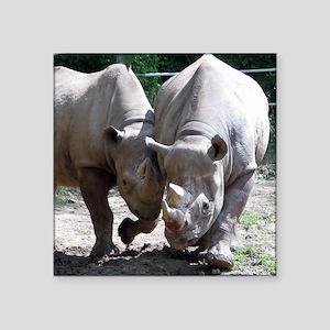 """2 rhino Square Sticker 3"""" x 3"""""""