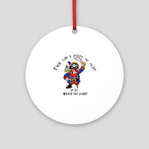 Peg Leg Pirate Captain with Sword Round Ornament