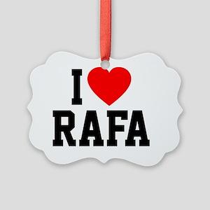Heart Rafa Button Picture Ornament