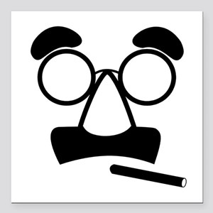 """Marx Moustache Square Car Magnet 3"""" x 3"""""""