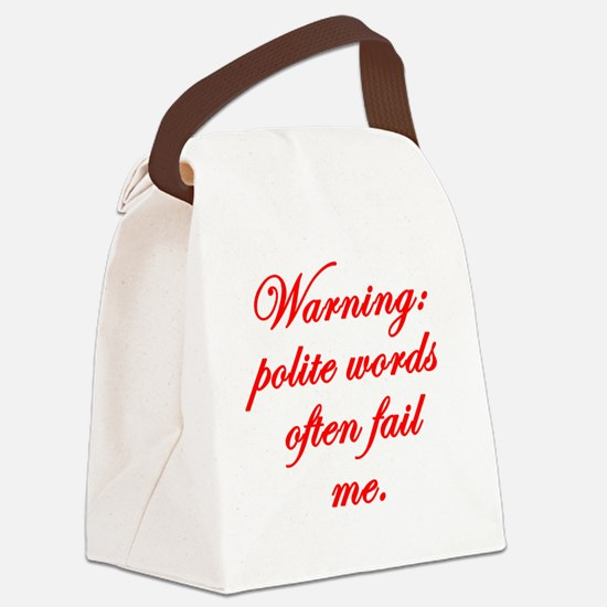 Polite-words Canvas Lunch Bag