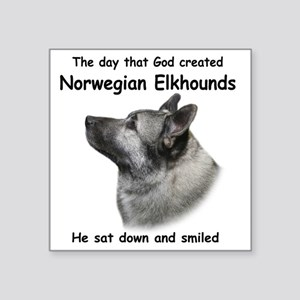"God-Elkhound Tile Square Sticker 3"" x 3"""
