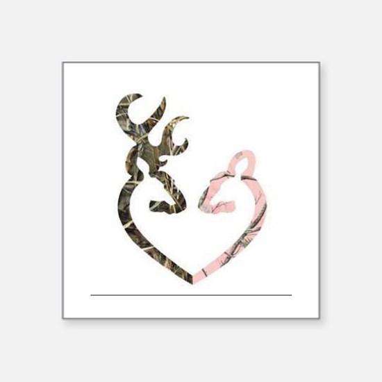 buck nd doe heart Sticker