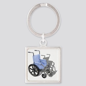 WheelchairBlueSeat073110 Square Keychain