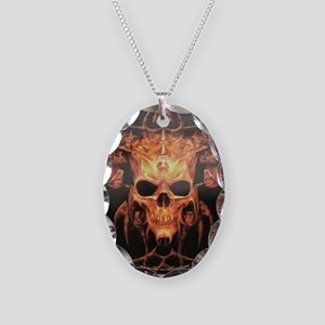 skull demon Necklace Oval Charm