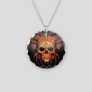 skull demon Necklace Circle Charm
