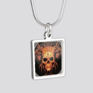 skull demon Silver Square Necklace