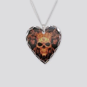 skull demon Necklace Heart Charm