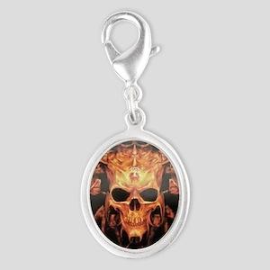 skull demon Silver Oval Charm