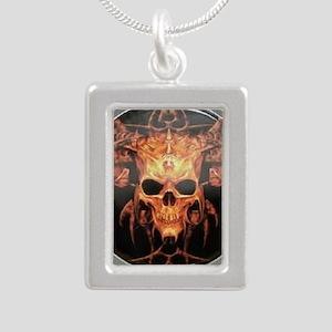 skull demon Silver Portrait Necklace