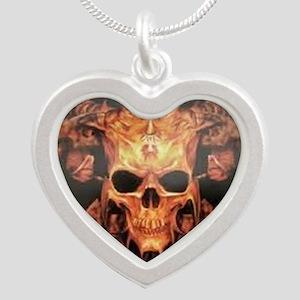 skull demon Silver Heart Necklace
