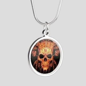 skull demon Silver Round Necklace
