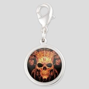 skull demon Silver Round Charm