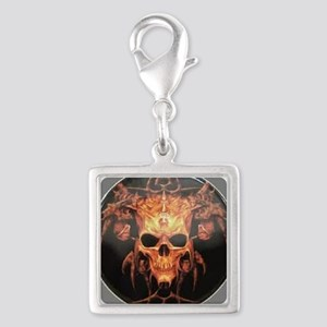 skull demon Silver Square Charm