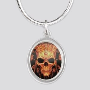 skull demon Silver Oval Necklace