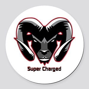 Super Charged Ram Style Mousepad Round Car Magnet