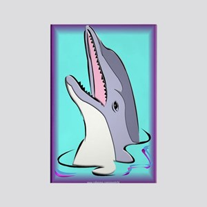 Purple Dolphin Rectangle Magnet