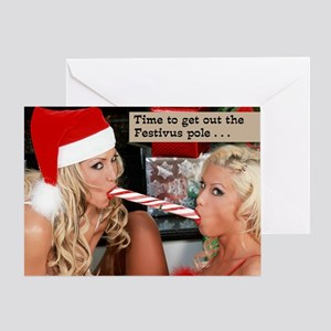two_girls_and_candycane Greeting Card