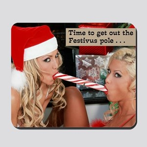 two_girls_and_candycane Mousepad