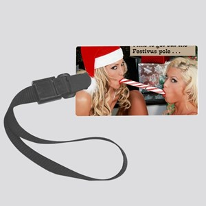two_girls_and_candycane Large Luggage Tag