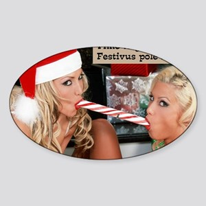 two_girls_and_candycane Sticker (Oval)