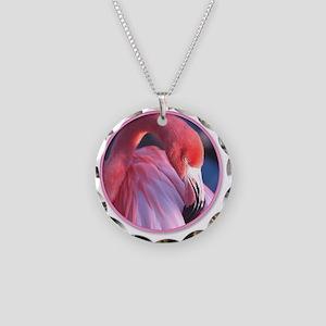 yule flamingo 2 Necklace Circle Charm