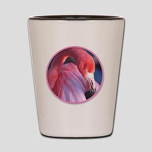 yule flamingo 2 Shot Glass