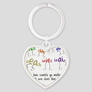 Two Vowels Go Walking Heart Keychain