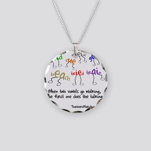 Two Vowels Go Walking Necklace Circle Charm