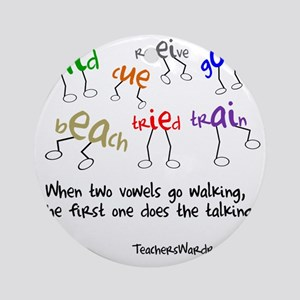 Two Vowels Go Walking Round Ornament