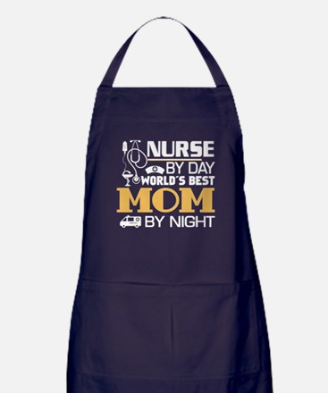 Nurse By Day And Mom By Night T Shirt Apron (dark)