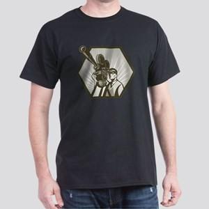 Vintage movie tv film camera and dire Dark T-Shirt