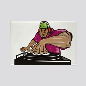DJ deejay playing music turntable Rectangle Magnet