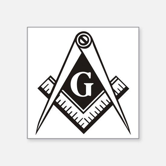 "Masonic Emblem Square Sticker 3"" x 3"""