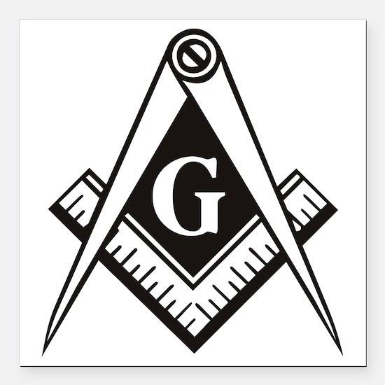 "Masonic Emblem Square Car Magnet 3"" x 3"""