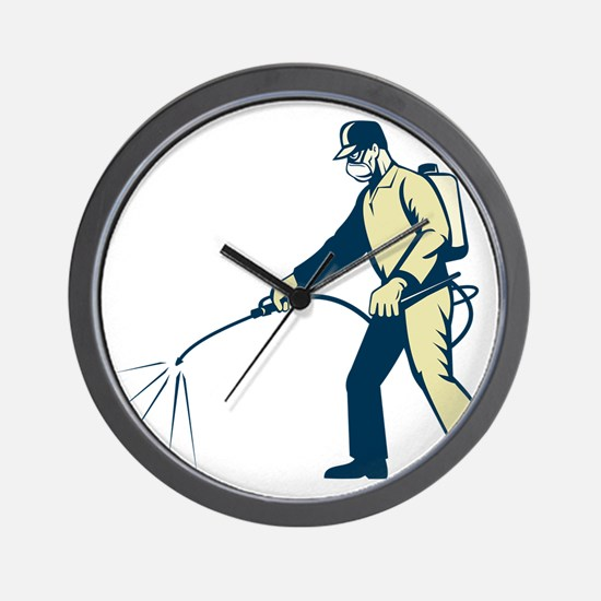Pest control exterminator spraying side Wall Clock
