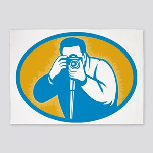 photographer with DSLR camera 5'x7'Area Rug