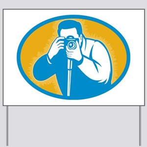 photographer with DSLR camera Yard Sign