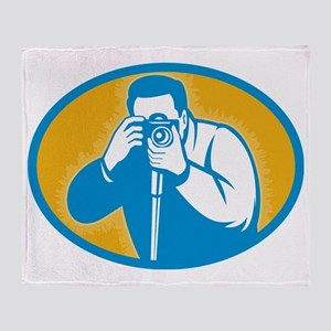 photographer with DSLR camera Throw Blanket