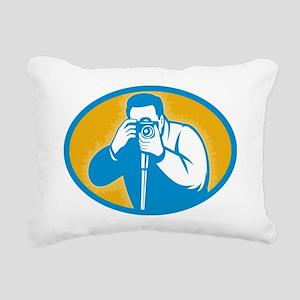 photographer with DSLR c Rectangular Canvas Pillow