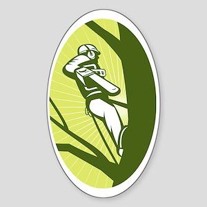 tree surgeon or arborist chainsaw c Sticker (Oval)