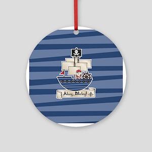 Pirate Ship Ahoy Matey Ornament (Round)