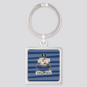 Pirate Ship Ahoy Matey Square Keychain