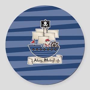 Pirate Ship Ahoy Matey Round Car Magnet
