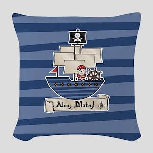 Pirate Ship Ahoy Matey Woven Throw Pillow